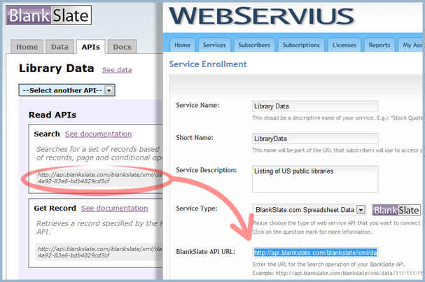 Copy the BlankSlate 'Search' operation URL into the WebServius service enrollment form